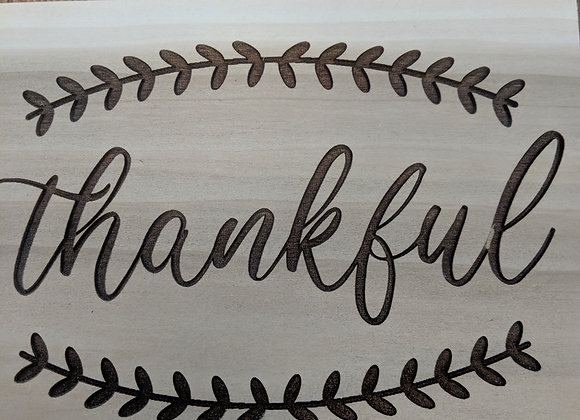 "Home Decor - Wooden Plaque ""Thankful"""