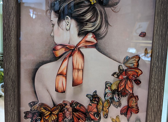 Ladies and Butterflies 3D Wall Art 8in x 10in