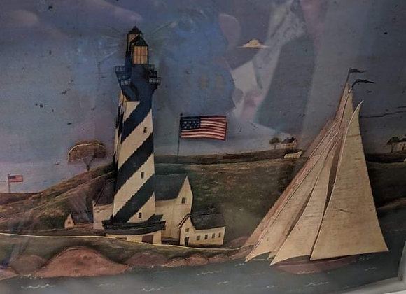 Lighthouse and Boat 3D Wall Art