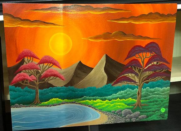 Hidden Lake Sunset Painting