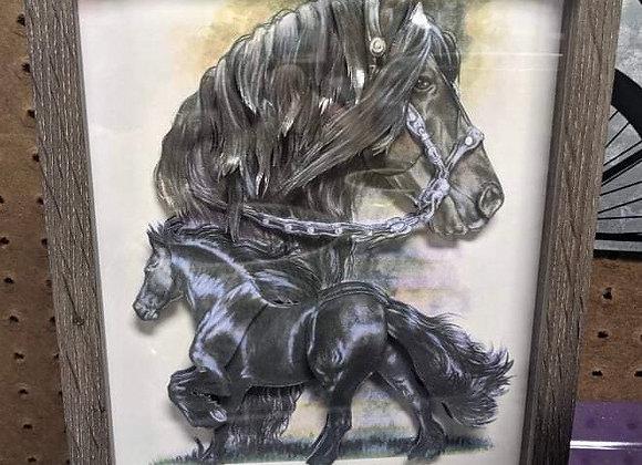 Two Black Horses 3D Wall Art