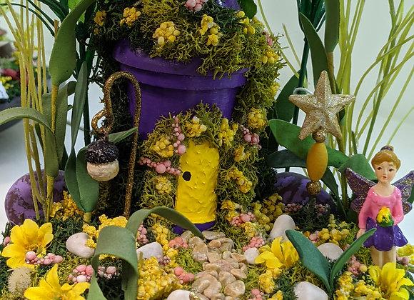 Home Decor - Heart Base with Purple House Fairy Garden