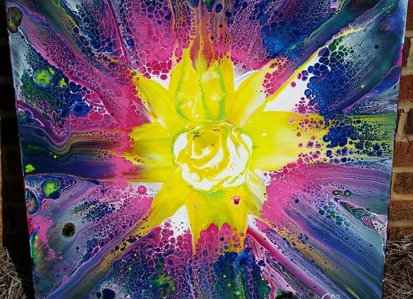 Fluid Art - Sunburst Acrylic Painting Wall Art