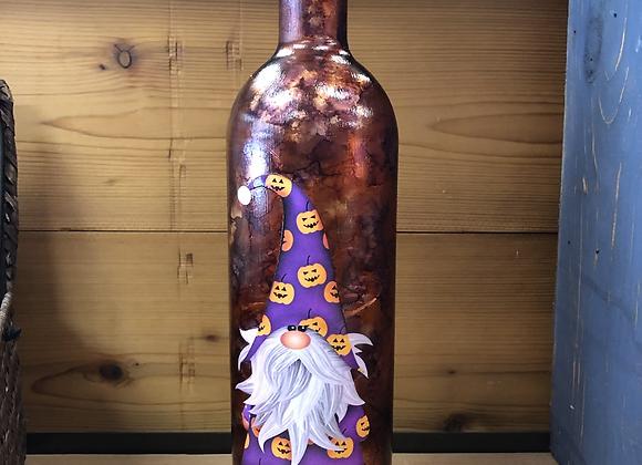 Light Up Fall Alcohol Ink Wine Bottles