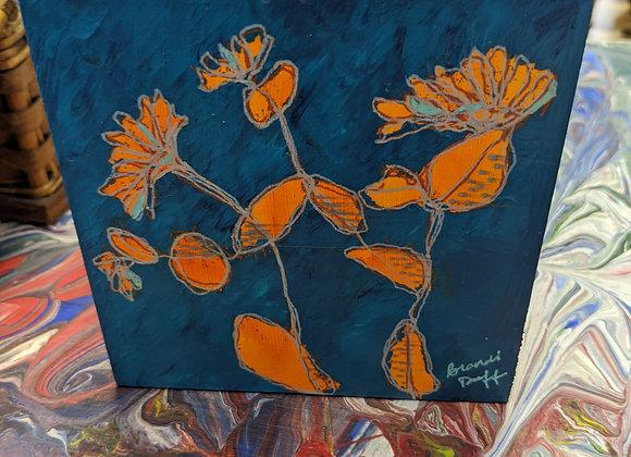 Floral Monoprint on Wood - Wall Art