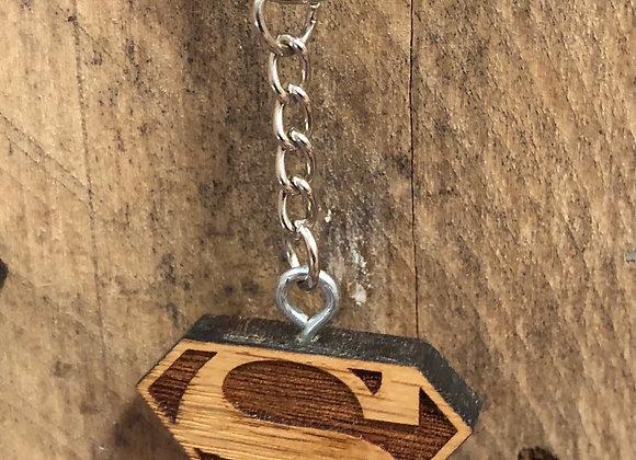 Superman Wood Keychain