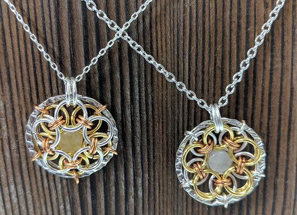Chainmaille Helm Weave Mandala with Citrine