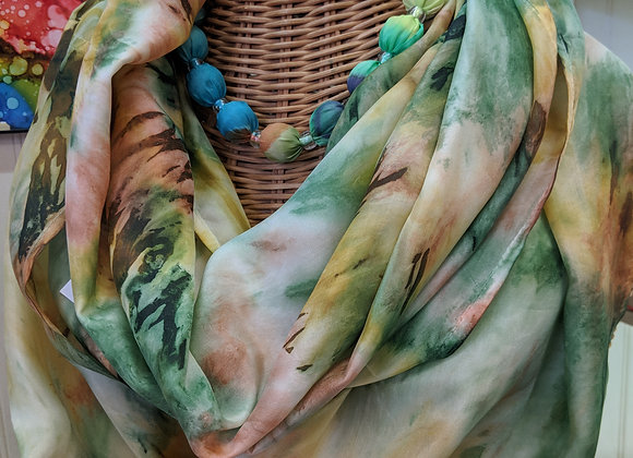 Silk Scarf - Green/Orange Hoop Style