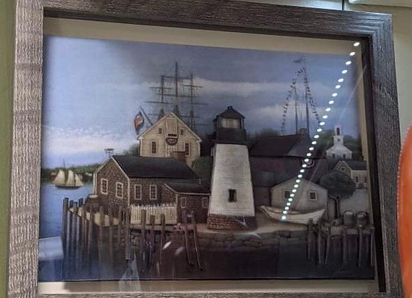 Lighthouse and Village 3D Wall Art