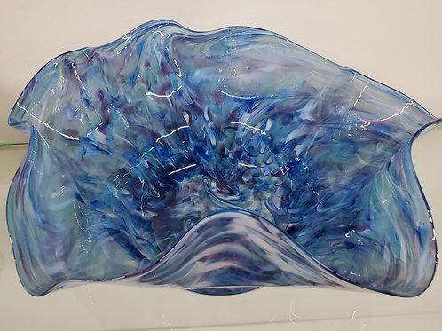"Light blues and deep purple swirled bowl 12"" wide 5"" deep"