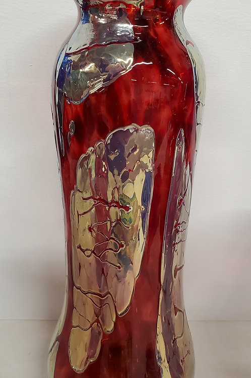 """Gold and reddish orange vase 13 1/2"""" tall with a 2"""" opening"""