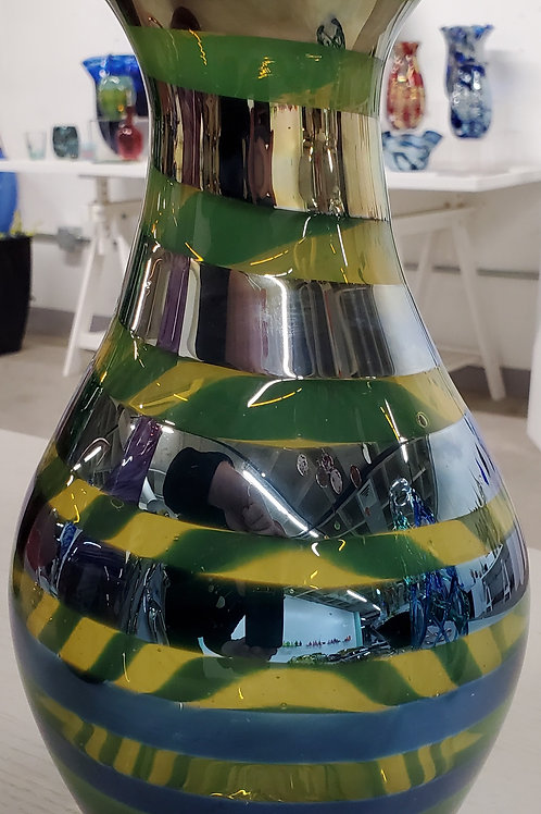 """Lime green and silver vase 11"""" tall with 1 1/2"""" opening"""