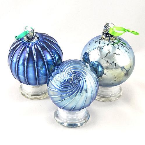 Handblown Glass Ornament - Solid Silver
