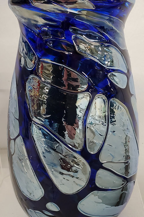 """Deep blue and silver vase 9"""" tall 3"""" opening"""