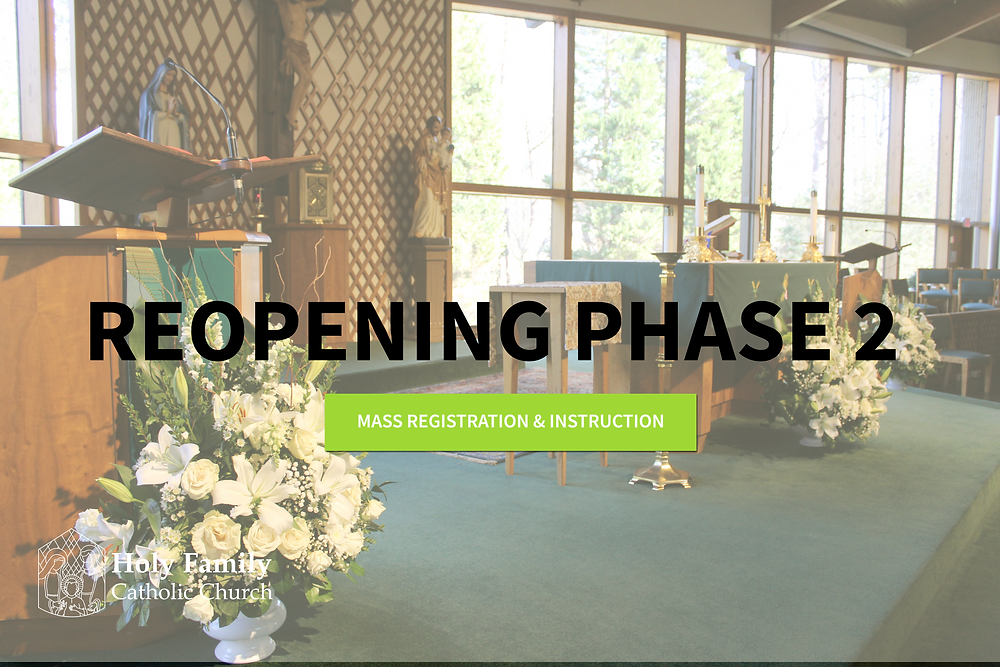 Holy Family Altar, Reopening Phase 2, click to be redirected