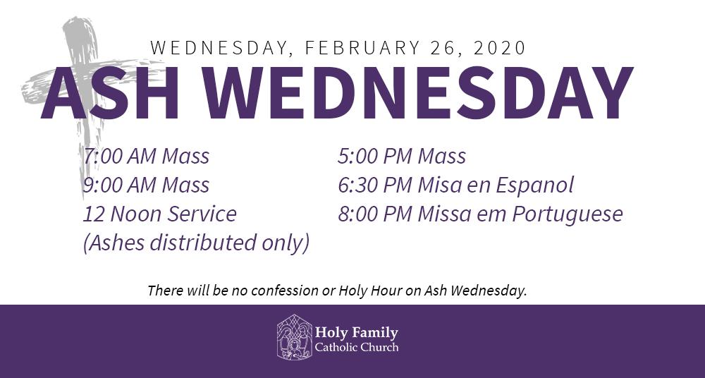 Ash Wednesday 2020 Schedule