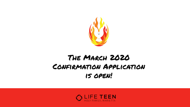 March 2020 Confirmation Application Open
