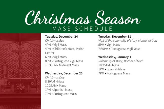 2019 Christmas Season Schedule