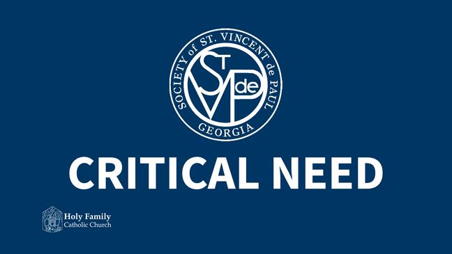 St. Vincent de Paul Critical Need