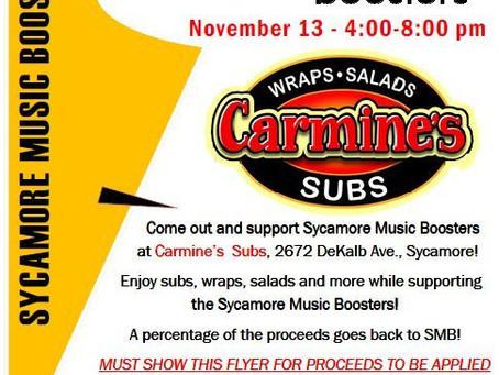 November 13th – Carmine Subs Booster Fundraiser!