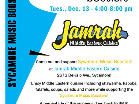 Jamrah Supports Music Boosters AND You Don't Have to Cook!