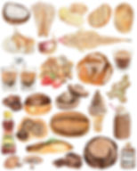 brown and beige ombre watercolour food illustration food art bread illustration