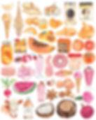 watercolour food orange pink beige illustration