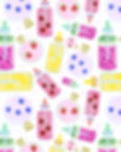 potion bottles with fruit digital illustrations digital pattern