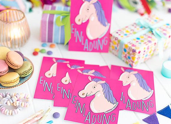 einladung kindergeburtstag, einladung junge, einladung mädchen, einladungskarten, pferd, reiten