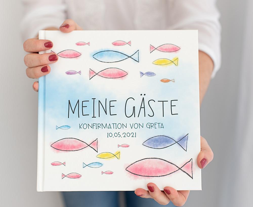 gästebuch kommunion, konfirmation, personalisiert, mit namen, mit fragen, buch für gäste