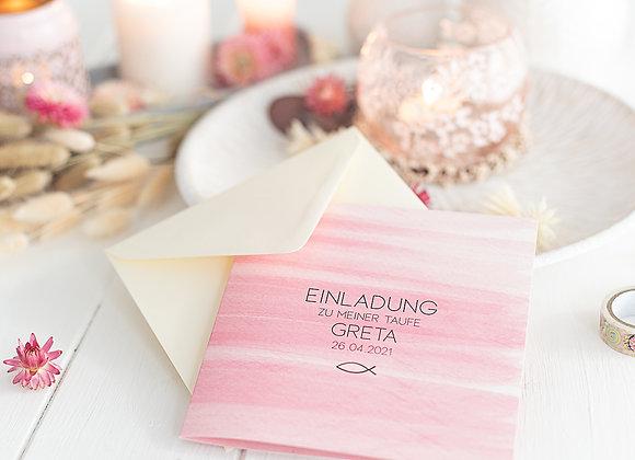 einladung konfirmation, kommunion, taufe, firmung, einladungskarte pink, watercolor, mädchen
