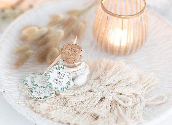 gastgeschenke taufe, kommunion, konfirmation, korkenglas, zuckermandel, geschenke für gäste