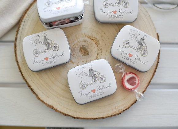 GASTGESChenke hochzeit, personalisierte döschen, bedruckte döschen, fahrrad, bike