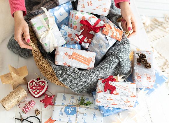 adventskalender geschenkpapier, adventskalender einpacken, adventskalender verpacken, adventskalender bogen A3