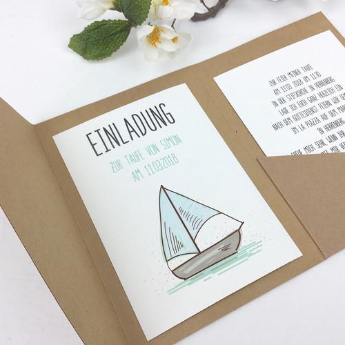 Einladungskarte Pocketfold Schiff