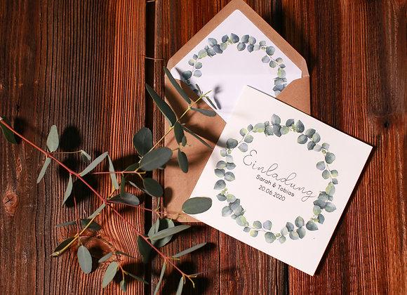 eukalyptus hochzeit, hochzeiteinladung,