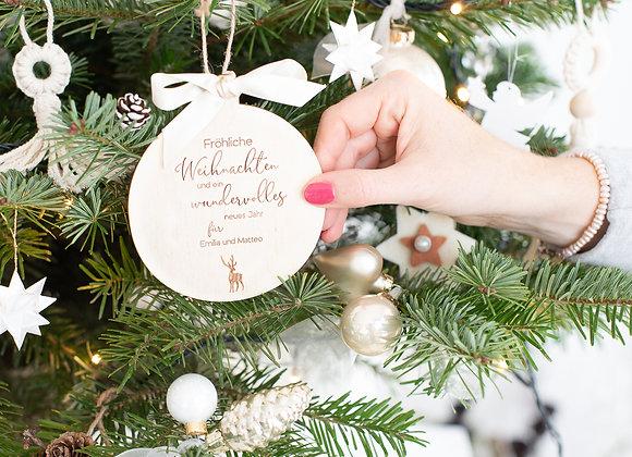Baumschmuck Holz  - personalisiert - Weihnachtsgruß