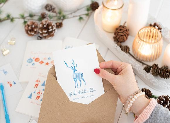 weihnachtskarten, mit briefmarken,personalisiert, weihnachtsgrusskarte