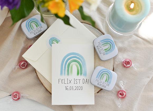 geburtskarte für junge, regenbogen, baby grüße, dankesagung geburt, regenbogen