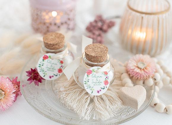 gastgeschenke hochzeit, korkgläschen für Hochzeitsmandeln, moonblumen, geschenke für gäste, personalisiert,