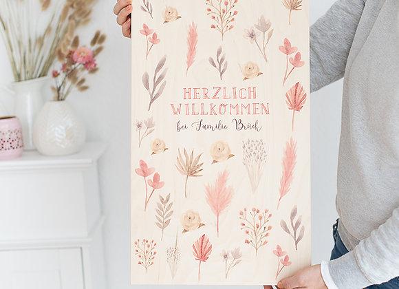 holzbild bedruckt, herzlich willkommen, trockenblumen