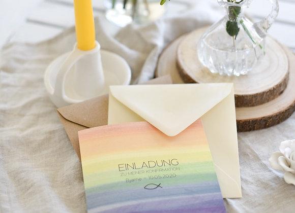 einladungskarte kommunion, konfirmation, firmung, taufe, rainbow, regenbogen für junge oder mädchen