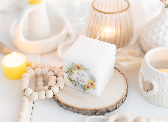 gastgeschenke hochzeit, bedruckte kerze, sonnenblumen, geschenke für gäste, personalisiert,