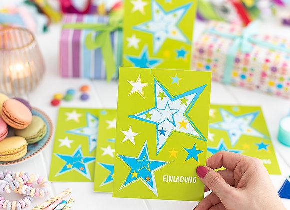 einladung kindergeburtstag, einladung junge, einladung mädchen, einladungskarten, strene grün