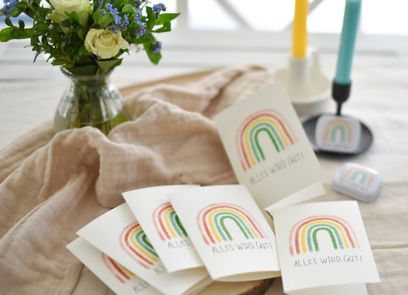 bleib gesund grusskarte, alles wird gut! regenbogen, brief verschicken, post an liebsten