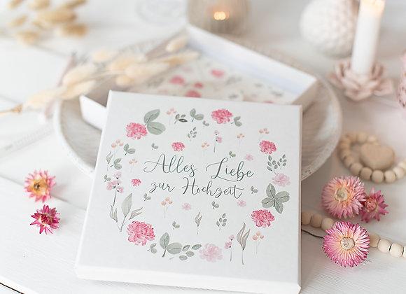 geldgeschenk hochzeit personalisiert, trockenblumen, geschenk für Brautpaar, geld verpacken hochzeit