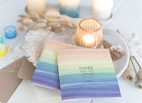 danksagungskarte kommunion, konfirmation, taufe, regenbogen