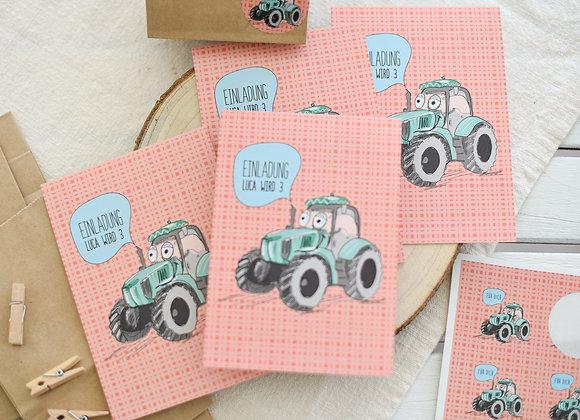 einladungskarten zum kindergeburtstag, kindergeburtstagskarten, einladungen personalisiert, traktor, bauernhof, mit namen