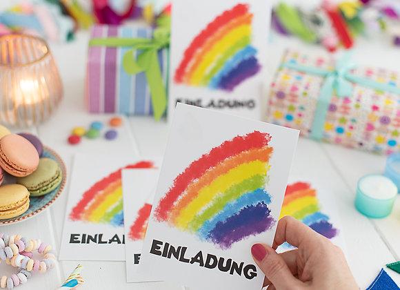 einladung kindergeburtstag, einladung junge, einladung mädchen, einladungskarten, regenbogen, bunt