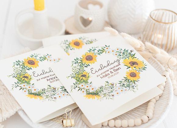 einladung hochzeit, hochzeiteinladung, sonnenblumen, blumenkranz